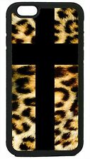 For iPhone 4 5 5C 6 Cross LEOPARD Animal PRINT cheetah Tiger Cat Case Cover