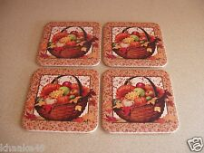 Longaberger Set Of 6 Cork Coasters Artwork Of Autumn Treats Basket New Free Ship
