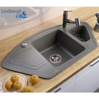 "LINDBERGH® Granit Spüle Grau ""ANG"" Siphon Einbauspüle Küchenspüle Eckspüle"