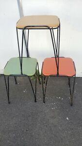 VTG Mid Century Hairpin Leg Stool Bench Table Hairp Wrought Iron (3)