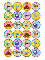 24 HEY DUGGEE EDIBLE 4CM WAFER PAPER CUPCAKE CUP CAKE DECORATION IMAGES TOPPERS