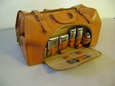 vintage Leather Toiletry Bag Chrome metal Kit Travel Bag Mens Genuine