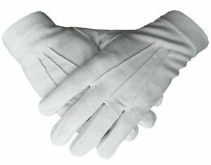 Masonic Regalia 100% Cotton White Gloves High Quality (Brand New)
