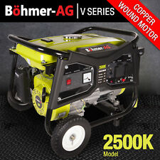 Bohmer Generator 2200w 2.8 KVA 4 Stroke Petrol UK 6HP 2500K Portable Pull Start