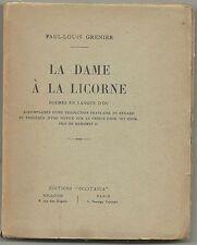 La Dame à la Licorne, Poèmes en langue d'Oc, Traduction français, Grenier, 1933