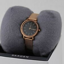 NEW AUTHENTIC SKAGEN HALD ROSE GOLD BLACK WOMEN'S SKW2470 WATCH