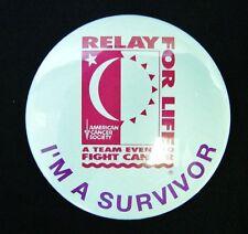 Relay for Life Button Pin I'm A Survivor White American Cancer Society Teams