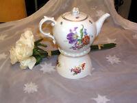 edle Teekanne 1,1 L mit Stövchen Fürstenberg Bunte Blume  Dekor Tulpe neu