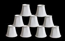 "Urbanest Chandelier Mini Lamp Shades,5"",Bell Silk,White w/ Braid Trim,Set of 9"