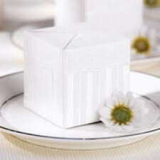 2 Wilton FLIRTY FLEUR PARTY Favor Box White Wedding Shower Emboss