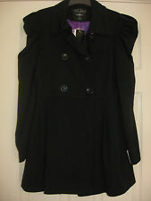 NEW WOMEN'S CLOTHES BLACK DOUBLE BREASTED JACKET COAT UK SIZE 12 BNWT