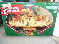 Vintage Mr. Christmas in Bethlehem Animated Music Lighted Nativity Manger Works!