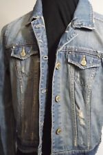 American Eagle Women's Washed Distressed Tinted Denim Jean Jacket M