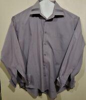 Prime Time Gray Long Sleeve Men's Shirt XL 17.5 x 34/35 Single Needle Tailoring