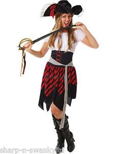 Pirate Dame Rouge Chemisier Costume Robe Fantaisie Costume Femme Adulte UK 10-12