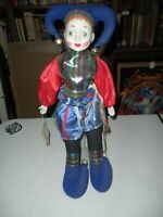 "Jester Bisque Porcelain Clown Doll 18"" Tall On a Stand Heritage Doll with Tag"