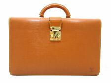 Auth Louis Vuitton Epi Serviette Fermoir M54358 Briefcase Leather Brown 86307