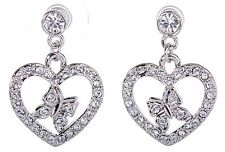 Swarovski Elements Crystal Heart Butterfly Pierced Earrings Rhodium Plated 7107x