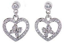 Swarovski Elements Crystal Heart Butterfly Pierced Earrings Rhodium Plated 7107x