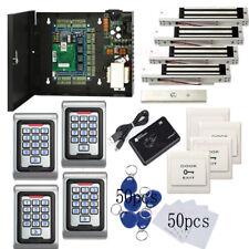 4 Door Access Security System 600LB Magnetic Lock Waterproof Metal Keypad Reader