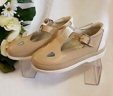 Niños Chica Joven Zapatos Sandalias Hecho ITALY Beige 1607gr 26