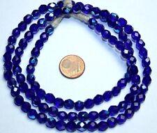 Strang 64 cm kobalt blaue facettierte irisierend böhmische Glasperlen 6 mm