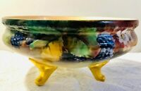 Antique Hand Painted Artist Signed Gold Footed Fruit Console Bowl Blackberries