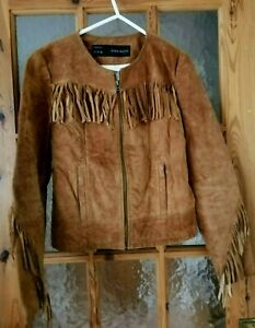 """ZARA Tan Real Suede Leather Fringed Tassel Jacket Size M Chest 36"""""""