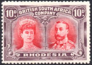 Rhodesia 1910-13 10d scarlet & reddish mauve Double Head P.14, SG.149 mint c.£50