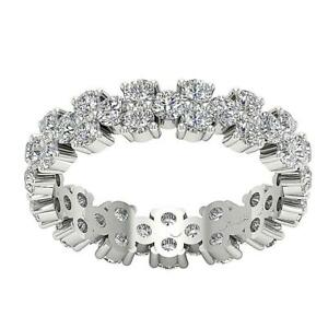 Eternity Wedding Ring VS1 E 2.85 Carat Natural Round Diamond 14K White Gold
