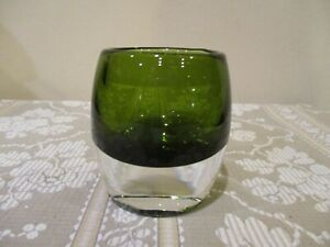 Crate and Barrel Clear Heavy Bottom Emerald Green Glass Voltive Holder (1pc)