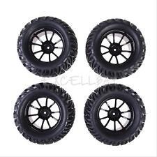 New 4PCS Rubber Wheel Rim + Tires For HSP 1:10 Monster Truck RC Car 12mm Hub