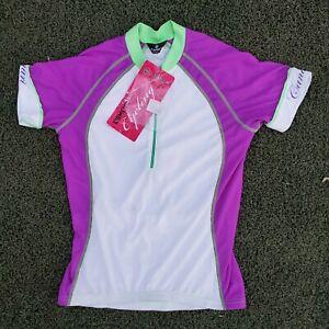 Women's Canari Cycling Bicycle Jersey Shirt White Purple Green Contrast Stitch M
