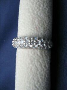 Besonderer Memory Ring dreireihig Silber 925, 31 Zirkonia, Glas klar, 5,2g, 18er