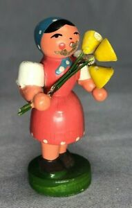 ERZGEBIRGE GDR German Miniature 2-inch WOMAN with FLOWERS Wood Figurine VINTAGE