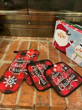 NWT Dreaming of White Christmas Plaid Oven Mitt and 2 Pot Holders