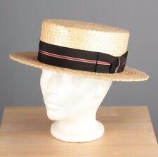 Vtg Men's 1920s Kaufmanns Fifth Avenue Straw Boater Hat sz 7 1/8 20s #3427h