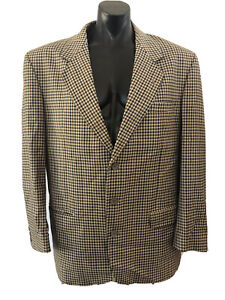 Rembrandt Tan 100% Wool Jacket Size 107 - 42 Houndstooth Sports Lined Made In NZ