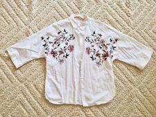 ZARA WHITE FLORAL EMBROIDERED 3/4 Kimono Sleeve SHIRT BLOUSE XS 6 8