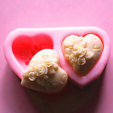 Silicone 3D Rose Heart Shape Fondant Cake Mold DIY Sugar Craft Soap Candle Mould