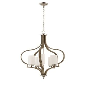 Craftmade Jasmine 5 Lt Chandelier, Polished Nickel/Weathered Fir w/White Frosted