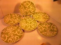 POTTERY BARN--GRAPHIC GARDEN--SET OF 6 SALAD PLATES--GREEN---SHIPS FREE---EUC