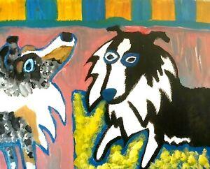 SHELTIE Abstract ACEO PRINT Mini Dog Art 2.5 X 3.5 Signed Artist KSams