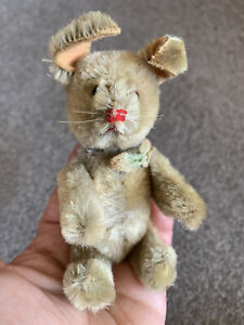 "Vintage SCHUCO Miniature TRICKY Yes No Mohair Jointed Rabbit 5"" Germany Nice!"