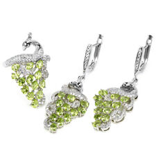 NATURAL AAA GREEN PERIDOT & WHITE CZ STERLING 925 SILVER PEACOCK SET SIZE 7.25