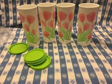 TUPPERWARE TULIP Design Tumblers Set 4 w/Seals 16 oz/470 ml NEW Lime