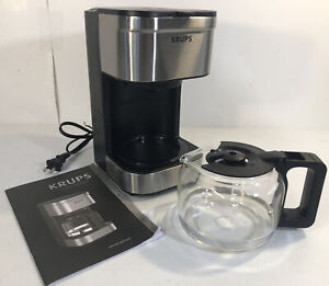 KRUPS Simply Brew Compact Filter Drip Coffee Maker, 5-Cup, Silver Glass PREOWNED