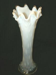"VINTAGE NORTHWOOD WHITE OPALESCENT ART GLASS STRETCH VASE - TREE TRUNK  10.25"""