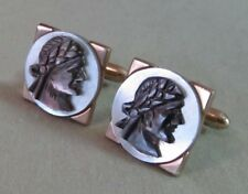 Mens Vintage HAND CARVED MOTHER of PEARL PIRATE CUFFLINK Costume Jewelry D73