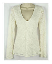 NEW WOMENS ABERCROMBIE FITCH V NECK LONG SLEEVE LACE WHITE KNIT TOP SHIRT M